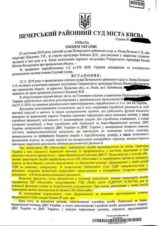 Решение Печерского суда, фигурант Костюк Василий Васильевич